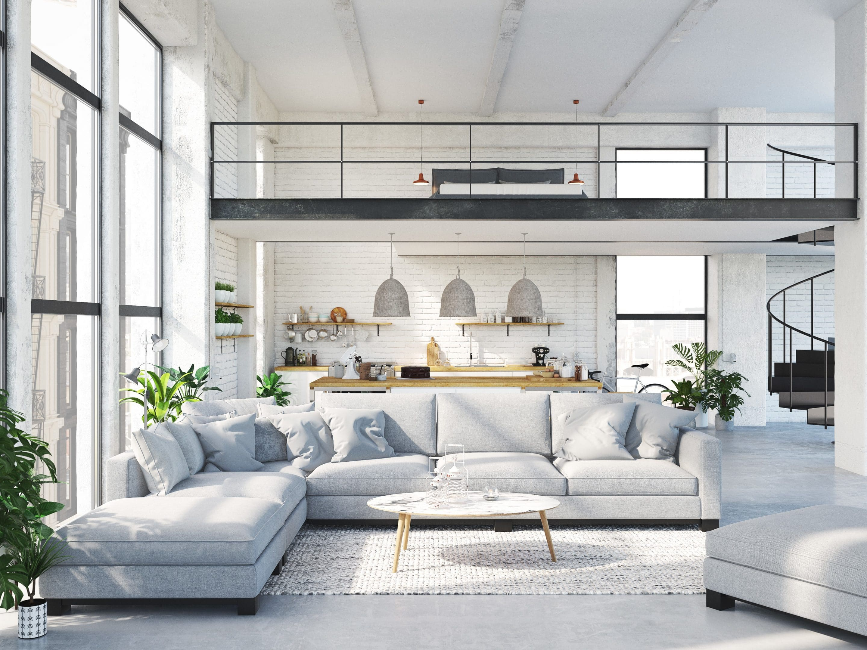 loft apartment with living room and kitchen. Concrete flooring